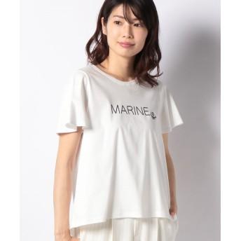 【50%OFF】 ラピーヌ ブルー スイスコットンプリントTシャツ レディース ホワイト 38 【LAPINE BLEUE】 【セール開催中】