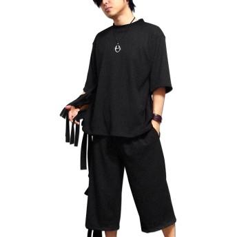 カットソー - EVERSOUL Tシャツ 五分袖 メンズ 5分袖 モード系 パンク ブラック 黒 レースアップ カットソー ユル系 ルーズシルエット 原宿系 モード系 EVERSOUL バンド 衣装