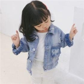 5fa14ea554e66 ジャケット アウター コート 子供服 女の子 キッズ 開襟 デニム 長袖 カジュアル トップス 春新作