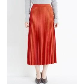 ハコ 楽して女っぽい フェイクスエードのプリーツスカート by que made me レディース オレンジ系その他 S 【haco!】