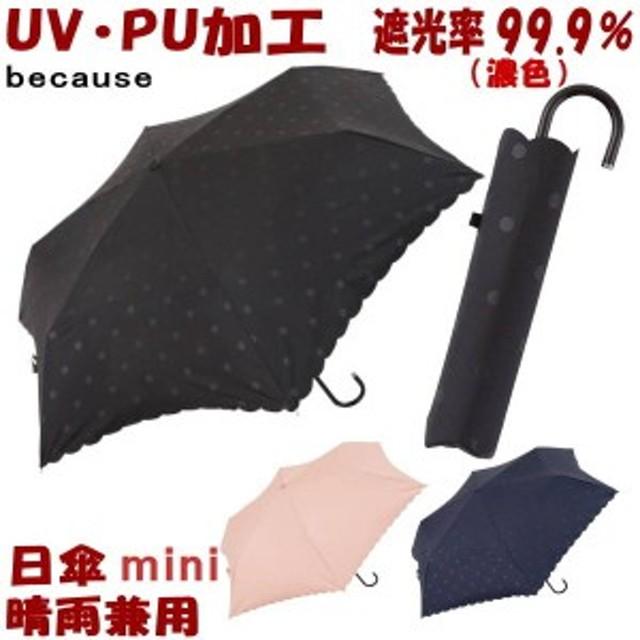 【メール便可】折りたたみ日傘 晴雨兼用 PUドットヒートカット ミニ ブラック/ネイビー/ピンク mini(日傘 折りたたみ uv加工 uvカット 遮