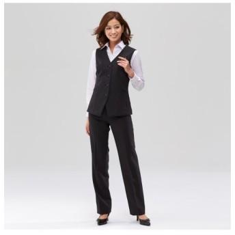 【事務服。ベストスーツ】2点セット(ベスト+パンツ)(股下77cm) (大きいサイズレディース)事務服