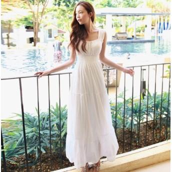 ワンピース ワンピースドレス ロングワンピース ロング パーティドレス フレアワンピース 白 ドレス エレガント お呼ばれ 30代 韓国