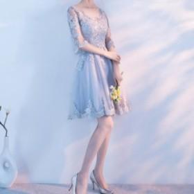 パーティードレス ひざ上丈 ワンピース 袖あり 透け感 大きいサイズ フォーマル イブニングドレス 二次会 結婚式 披露宴 オルチャン