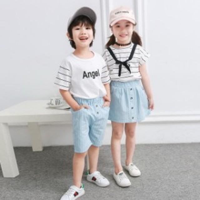 797cf9a35fc53 子供服 セットアップ 半袖Tシャツ 男の子 半ズボン 女の子 スカート 2点セット キッズ 上下