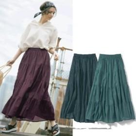 ふんわり軽やかインド綿100%ティアードスカート
