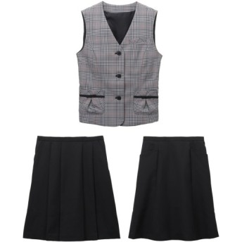 【事務服。ベストスーツ】3点セット(ベスト+プリーツスカート+フレアスカート)(選べる2レングス) women's suits