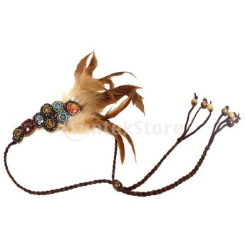 ヘッドバンド ヘッドピース ドレスアップ アクセサリー 髪飾り ジプシー ビーズ フェザー 編組ロープ 花嫁 ウェディング
