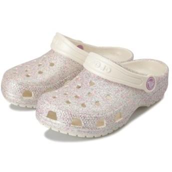 キッズ 【crocs】 クロックス Classic Glitter Clog K (14-20) クラシック グリッター クロッグ 205441-159 Oyster 18cm