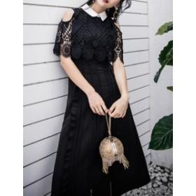 パーティードレス 結婚式 ドレス お呼ばれ ワンピース 20代 30代 40代 フォーマル ワンピースドレス 大きいサイズ 韓国 激安 二次会 黒