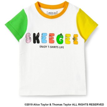 【40%OFF】 ブランシェス バーバパパ ロゴプリント袖切替Tシャツ(90~130cm) ユニセックス オフホワイト 120cm 【branshes】 【セール開催中】