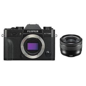【フジフイルム】 小型一眼カメラ 1本レンズキット(電動ズーム) 4K X-T30LK-1545-B デジタル一眼カメラ