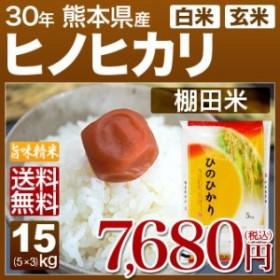 ヒノヒカリ 15kg 送料無料(熊本県 30年産)(5kg×3 玄米/白米)