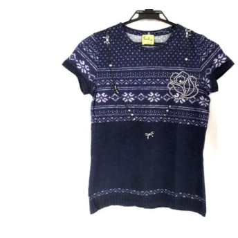 【中古】 ポールスミスプラス 半袖Tシャツ サイズM レディース ネイビー パープル 白 フェイクパール