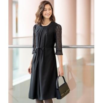 洗えるフォーマル前開きレース使いワンピース(レギュラー丈)(上下別売) (ブラックフォーマル)funeral outfit, plus size funeral outfit