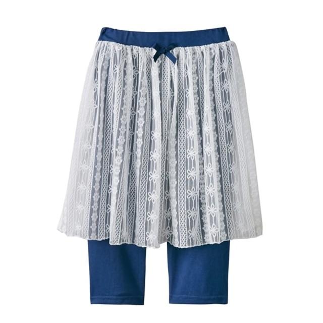 ニットデニムレギンス付レーススカート(6分丈。スカッツ)(女の子 子供服。ジュニア服) (スカート付パンツ)