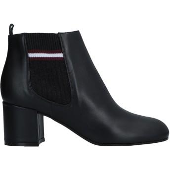 《セール開催中》POLLINI レディース ショートブーツ ブラック 41 牛革(カーフ) / 伸縮繊維