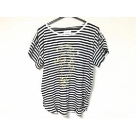 【中古】 ツモリチサト 半袖Tシャツ サイズ2 M レディース アイボリー 黒 ゴールド ボーダー