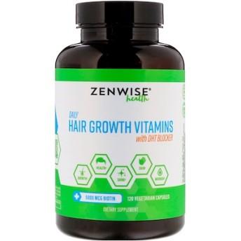 DHTブロッカー入りの毎日使う育毛ビタミン、ベジタリアンカプセル120錠