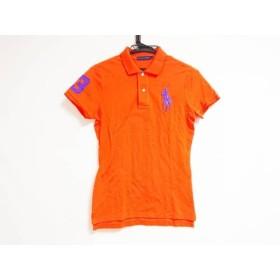 【中古】 ラルフローレン RalphLauren 半袖ポロシャツ サイズL レディース ビッグポニー オレンジ