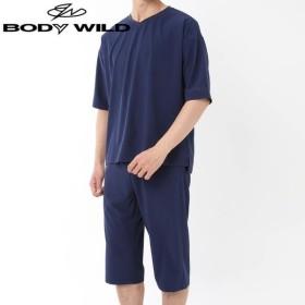 GUNZE(グンゼ)/BODY WILD(ボディワイルド)/ストレッチ素材 セットアップ 5分袖6分丈パンツ(メンズ)/春夏/BG3209/M〜LL
