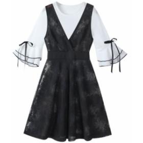 レディース  ワンピース  Vネック   透かし彫り  ラッパ袖   シンプルなファッション  ミニ丈ワンピース  ワンピースセット