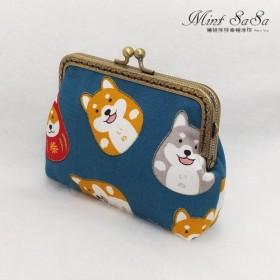 MintSaSa かわいい柴犬ゴールド小銭入れブロンズカラーゴールドバッグフラワークロス綿収納バッグ古典風布用布子犬動物手縫い