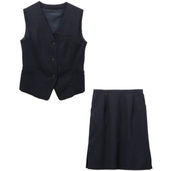 9/25 11:00amまでの特別価格!【事務服。ベストスーツ】2点セット(ベスト+タイトスカート)(選べる2レングス) (大きいサイズレディース)事務服,women's suits ,plus size