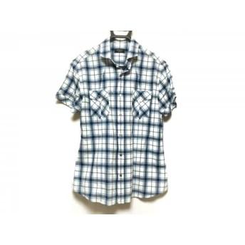 【中古】 エポカ EPOCA 半袖シャツ サイズ50 メンズ 白 ライトブルー ネイビー チェック柄/UOMO