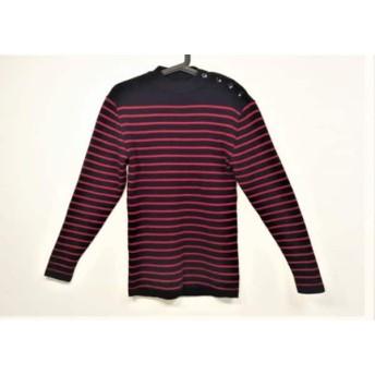 【中古】 セントジェームス 長袖セーター サイズ48 XL メンズ ダークネイビー レッド ボーダー