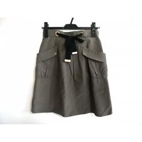 【中古】 アプワイザーリッシェ Apuweiser-riche スカート サイズ1 S レディース カーキ 黒 リボン