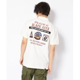 アヴィレックス ブラックエースポロ/BLACK ACES POLO メンズ OFF/WHITE M 【AVIREX】