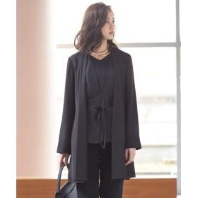 洗えるフォーマルトッパージャケット(共布ベルト付き)(上下別売) (ブラックフォーマル),plus size