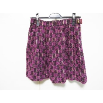 【中古】 チェスティ Chesty スカート サイズ0 XS レディース パープル 黒 マルチ ラメ