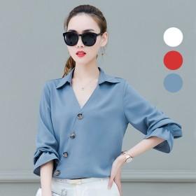 vネックシャツ レディース 春 ボタン 長袖 五分袖 スキッパーシャツ トップス ゆったり 大きいサイズ ブルー ホワイト レッド M/L/XL/2XL