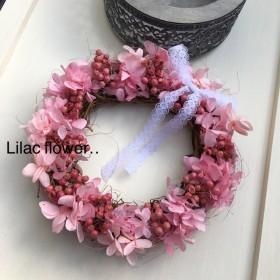 プリザーブドフラワー*紫陽花とペッパーベリーのピンクリース