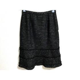 【中古】 レリアン Leilian スカート サイズ9 M レディース 黒 白 ゴールド ツイード/ラメ