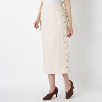 スカート レディース ロング 綿100%ツイルタイトスカート 「オフホワイト」