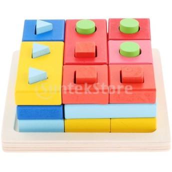 P Prettyia 赤ちゃん 幼児 知育玩具 はめこみ コラム スタッキング 幾何学 教育玩具