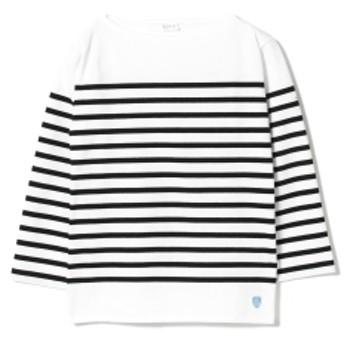ORCIVAL / ラッセル ボーダー ロングスリーブ レディース Tシャツ WHITE/BLACK 2