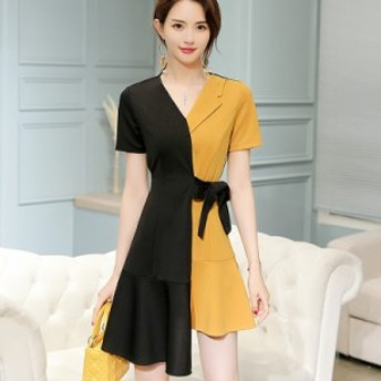 レディース ワンピース 半袖 トレンド 不規則 カジュアル 韓国ファッション 人気 気質