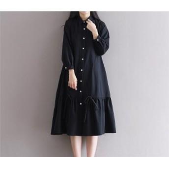 ワンピース カバーオール 長袖 ロング丈 体型カバー ゆったり シャツ素材 大きいサイズ ファッション 女性 オシャレ 春秋