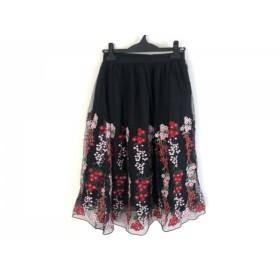 【中古】 チェリーアン スカート サイズM レディース 美品 黒 レッド マルチ チュール/刺繍/フラワー