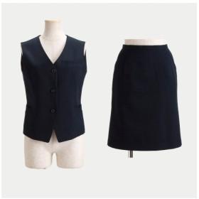 【事務服。ベストスーツ】2点セット(ベスト+タイトスカート)(丈58cm) (大きいサイズレディース)事務服,women's suits ,plus size