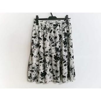 【中古】 ハロッズ HARRODS スカート サイズS レディース 白 ダークグレー 黒 花柄