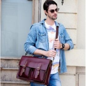 ビジネスバッグ 本革 赤 メンズ レッド 高級本革 ブリーフケース 大容量 16インチPC対応 メンズ レザー 通勤鞄 光沢 メンズ