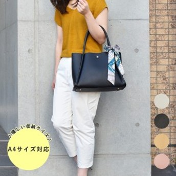 COOCO クーコ スカーフ付 フェイクレザー トート バッグ A4