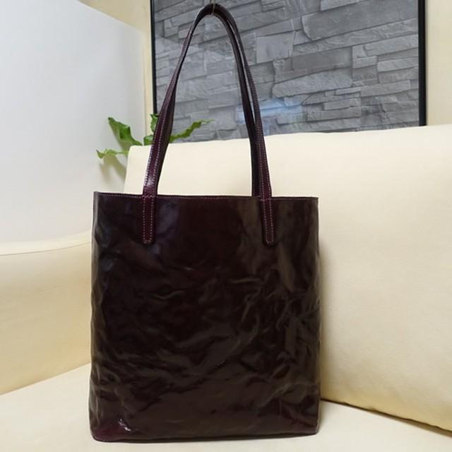 シンプルショルダートートバック(パープル)イタリアンレザーもみシワ加工の美しい革手縫い