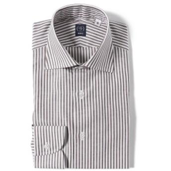 BEAMS F / コットンリネン ロンドンストライプ ワイドカラーシャツ メンズ ドレスシャツ BROWN/12 38