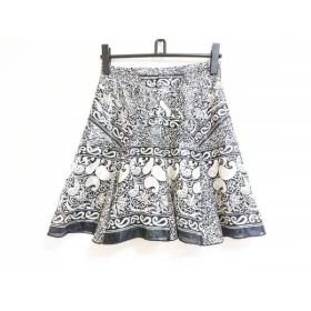 【中古】 アナスイ ANNA SUI スカート サイズ2 S レディース 黒 アイボリー グレー